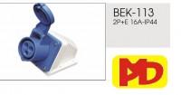 Ổ - Phích cắm công nghiệp Ổ cắm gắn noiuor không kín nước IP44-BEK-113
